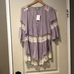 Solemio Lavender Lace Cardigan Blouse